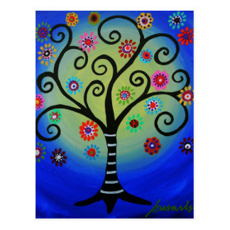 Whimsical Tree of Life Painting Postcard