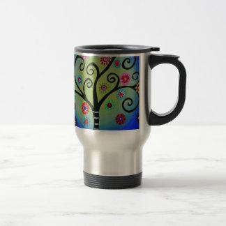 Whimsical Tree of Life Painting Travel Mug
