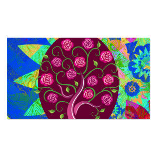 Whimsical Tree of Life Roses Colorful Abstract Business Card