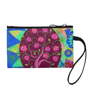 Whimsical Tree of Life Roses Colorful Abstract Coin Purse