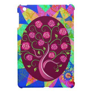 Whimsical Tree of Life Roses Colorful Abstract iPad Mini Cover