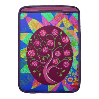 Whimsical Tree of Life Roses Colorful Abstract Sleeve For MacBook Air