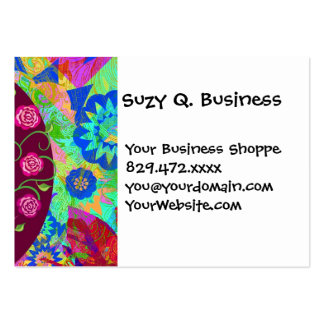 Whimsical Tree of Life Roses Colorful Abstract Large Business Card