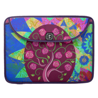 Whimsical Tree of Life Roses Colorful Abstract Sleeves For MacBook Pro