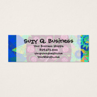Whimsical Tree of Life Roses Colorful Abstract Mini Business Card