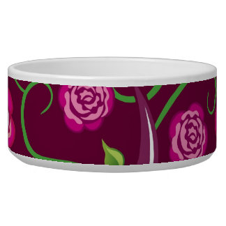 Whimsical Tree of Life Roses Colorful Abstract Dog Food Bowls
