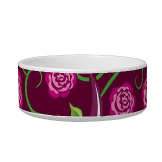 Whimsical Tree of Life Roses Colorful Abstract Cat Bowl