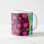 Whimsical Tree of Life Roses Colorful Abstract Extra Large Mug