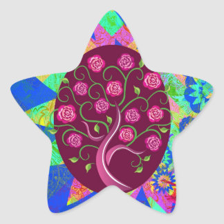 Whimsical Tree of Life Roses Colorful Abstract Star Sticker