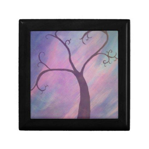 Whimsical Tree Painting Framed Keepsake Box