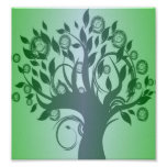 Whimsical Tree Poster on green background.