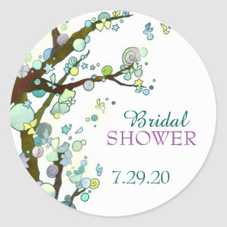Whimsical Tree Themed White Bridal Shower Stickers
