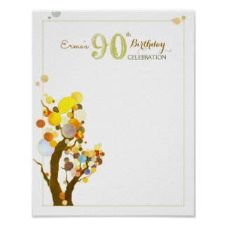 Whimsical Trees Birthday Party Guest Sign Poster