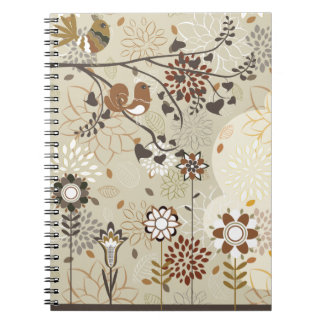 Whimsical trees flowers birds notebook