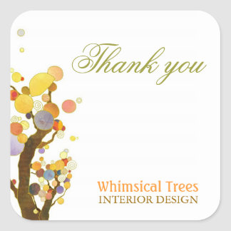 Whimsical Trees Unique Business Thank You Stickers