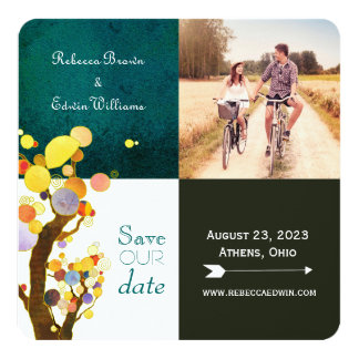 Whimsical Trees Wedding Photo Save the Date Card