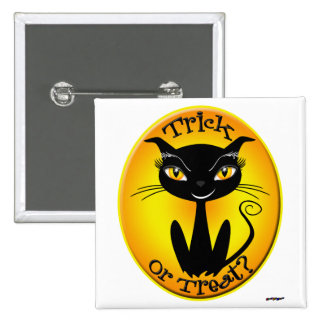 Whimsical Trick or Treat Cat Button