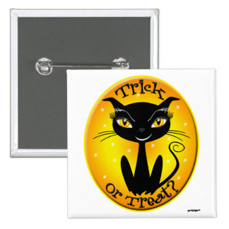 Whimsical Trick or Treat Cat with stars Pin