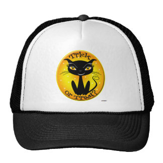 Whimsical Trick or Treat? Cat with stars Trucker Hat