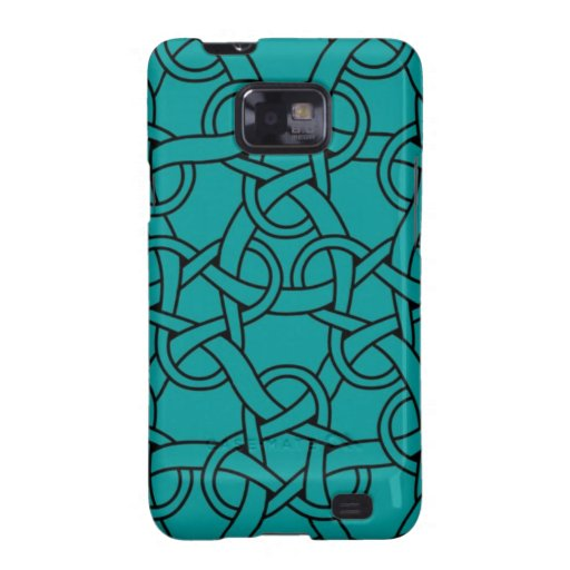 Whimsical Turquoise Celtic Pattern Galaxy SII Cases