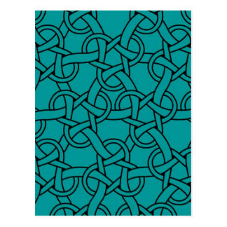 Whimsical Turquoise Celtic Pattern Postcard