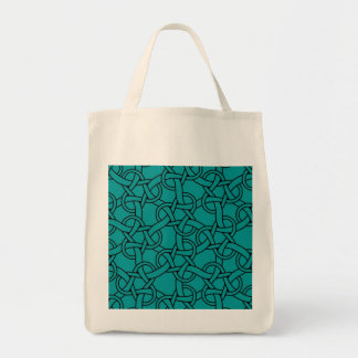 Whimsical Turquoise Celtic Pattern Tote Bag