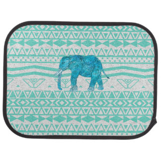 Whimsical Turquoise Paisley Elephant Aztec Pattern Car Floor Mat