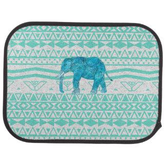 Whimsical Turquoise Paisley Elephant Aztec Pattern Car Mat