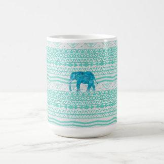 Whimsical Turquoise Paisley Elephant Aztec Pattern Classic White Coffee Mug