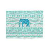 Whimsical Turquoise Paisley Elephant Aztec Pattern Fleece Blanket