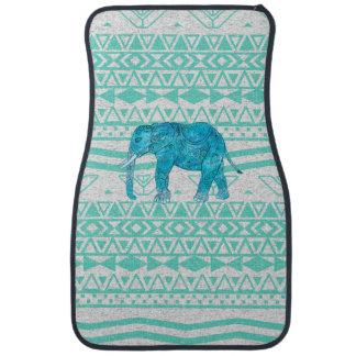 Whimsical Turquoise Paisley Elephant Aztec Pattern Floor Mat