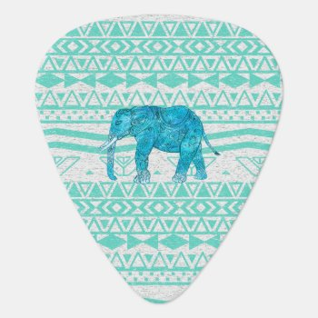 Whimsical Turquoise Paisley Elephant Aztec Pattern Guitar Pick by girly_trend at Zazzle