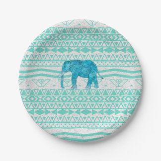 Whimsical Turquoise Paisley Elephant Aztec Pattern Paper Plate
