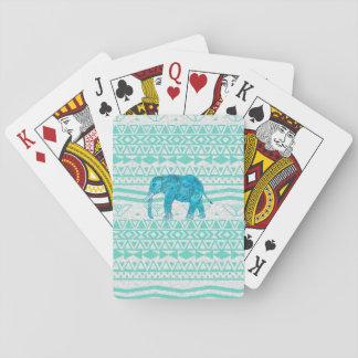 Whimsical Turquoise Paisley Elephant Aztec Pattern Poker Cards