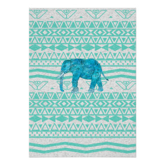 Whimsical Turquoise Paisley Elephant Aztec Pattern Poster