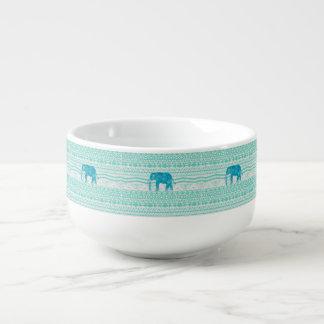 Whimsical Turquoise Paisley Elephant Aztec Pattern Soup Mug
