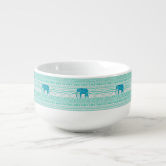 Whimsical Turquoise Paisley Elephant Aztec Pattern Soup Bowl With Handle