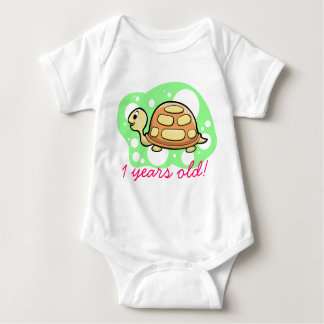 Whimsical Turtle With Your Child's Birthday Greeti Baby Bodysuit