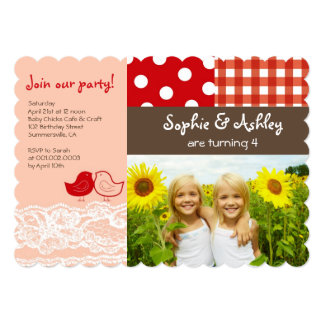 Whimsical Twin Birds Lace Birthday Party Invite