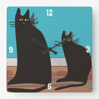 Whimsical Two Black Cats Art Clock