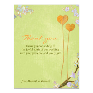 """Whimsical Two Hearts Rustic Wedding Thank You Card 4.25"""" X 5.5"""" Invitation Card"""