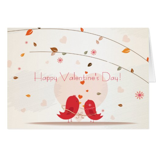 Whimsical Two Red Birds in Love Valentine's Day Card