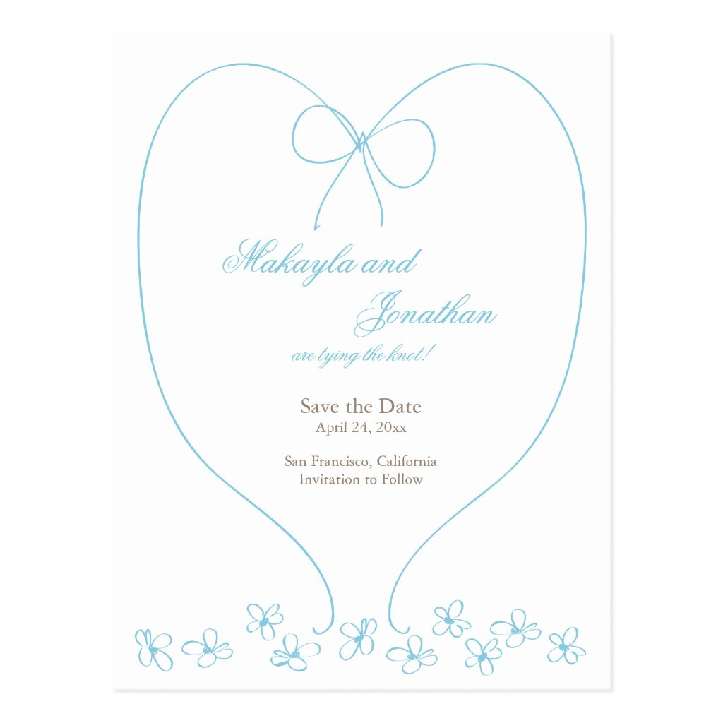 Whimsical Tying the Knot Save the Date: Blue 8 postcards.