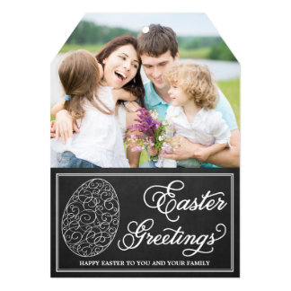 Whimsical Typography Chalkboard Easter Photo Card