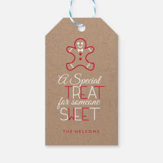 Whimsical Typography Red and White Gingerbread man Gift Tags