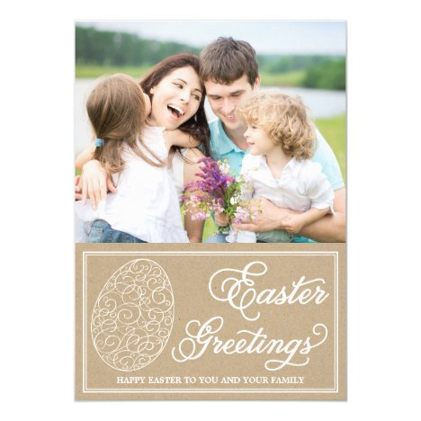 Whimsical Typography Vintage Easter Photo Card