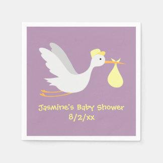 whimsical unisex stork baby shower paper napkin