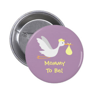 Whimsical Unisex Stork Baby Shower Pinback Button