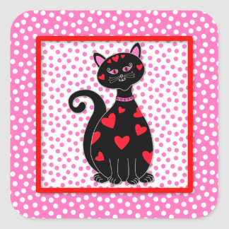 Whimsical Valentine Cat Square Sticker