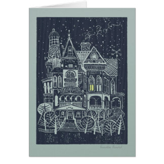 Whimsical Victorian House Christmas Card